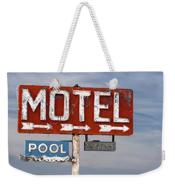Motel And Pool Sign Route 66 Weekender Tote Bag