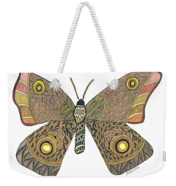 Weekender Tote Bag featuring the drawing Moth by Barbara McConoughey