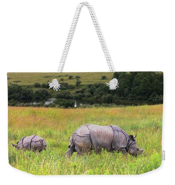 Mother And Baby Rhinos Weekender Tote Bag