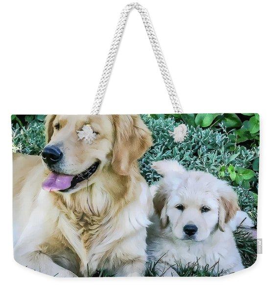 Mother And Pup Weekender Tote Bag