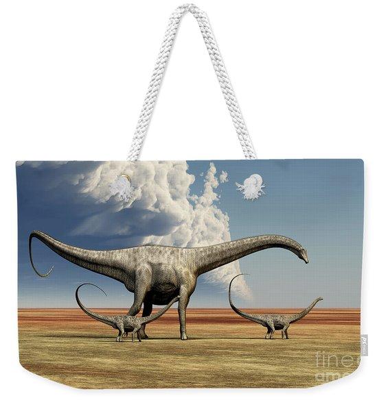 Mother Diplodocus Dinosaur Walks Weekender Tote Bag