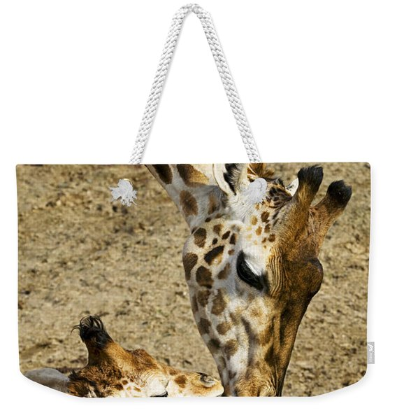 Mother Giraffe With Her Baby Weekender Tote Bag