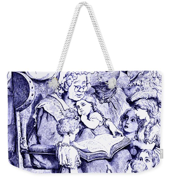 Weekender Tote Bag featuring the painting Vintage Mother Goose Reading To Children by Marian Cates