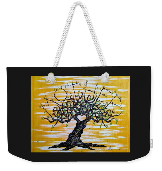 Weekender Tote Bag featuring the drawing Mother Love Tree by Aaron Bombalicki