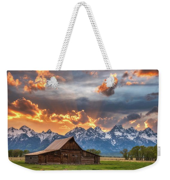 Moulton Barn Sunset Fire Weekender Tote Bag