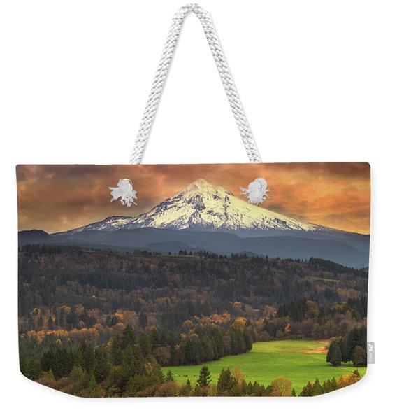 Mount Hood At Sandy River Valley In Fall Weekender Tote Bag