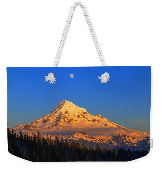 Mount Hood Last Light In Oregon Usa Weekender Tote Bag