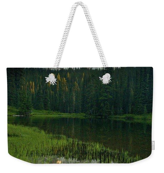 Mount Rainier Dawn Reflection Weekender Tote Bag