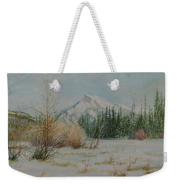 Mount Rundle In Winter Weekender Tote Bag