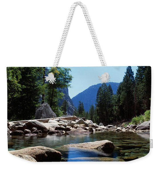 Mountain Behind Pine Trees, Tenaya Weekender Tote Bag
