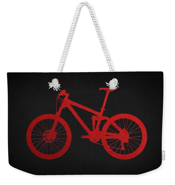 Mountain Bike - Red On Black Weekender Tote Bag