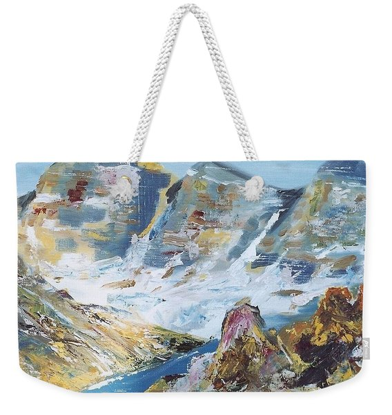 Mountain Done With Knife Weekender Tote Bag