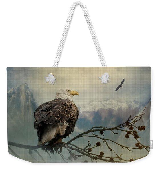 Mountain Dreams Bald Eagle Art Weekender Tote Bag