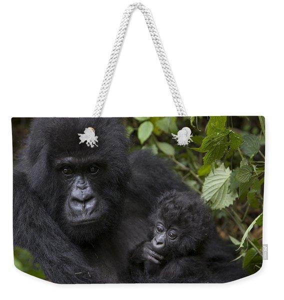 Mountain Gorilla Mother Holding 3 Month Weekender Tote Bag