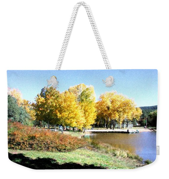 Weekender Tote Bag featuring the digital art Mountain Lake Autumn by Deleas Kilgore