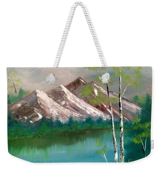 Weekender Tote Bag featuring the painting Mountain Lake by Denise Tomasura