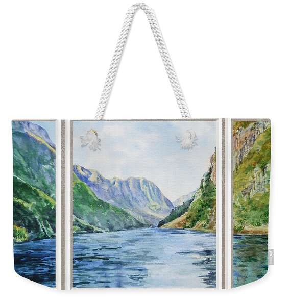 Mountain Lake View Window  Weekender Tote Bag