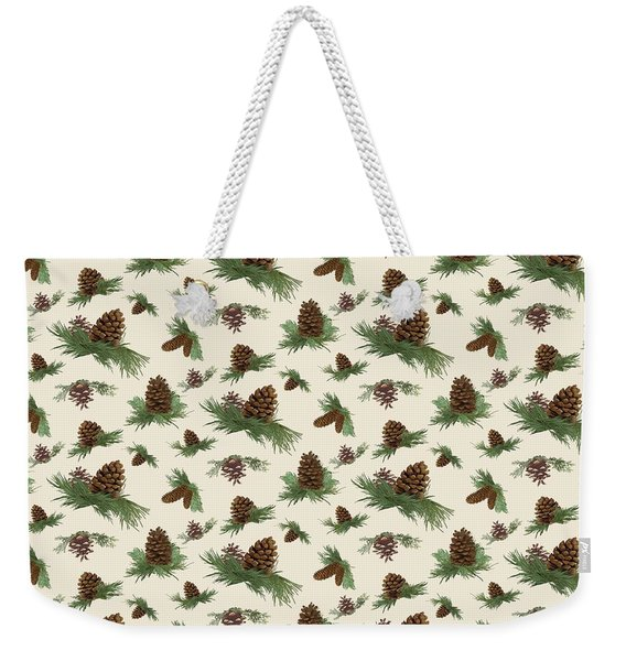 Mountain Lodge Cabin In The Forest - Home Decor Pine Cones Weekender Tote Bag