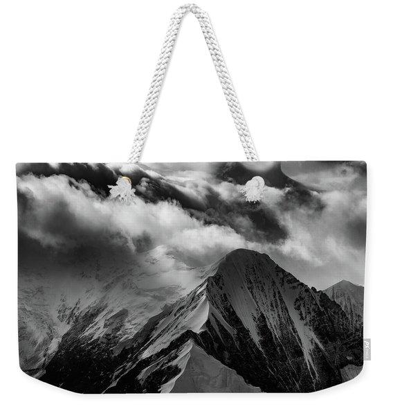 Mountain Peak In Black And White Weekender Tote Bag
