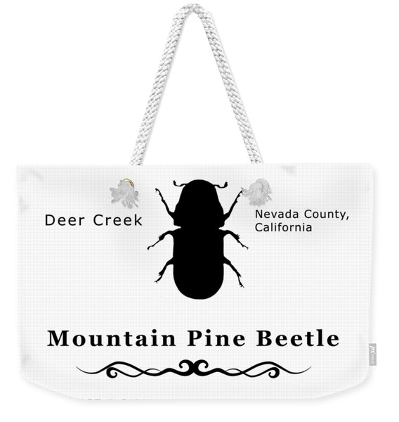 Mountain Pine Beetle Black On White Weekender Tote Bag