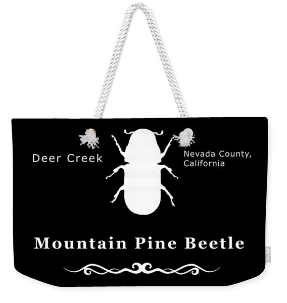 Mountain Pine Beetle White On Black Weekender Tote Bag