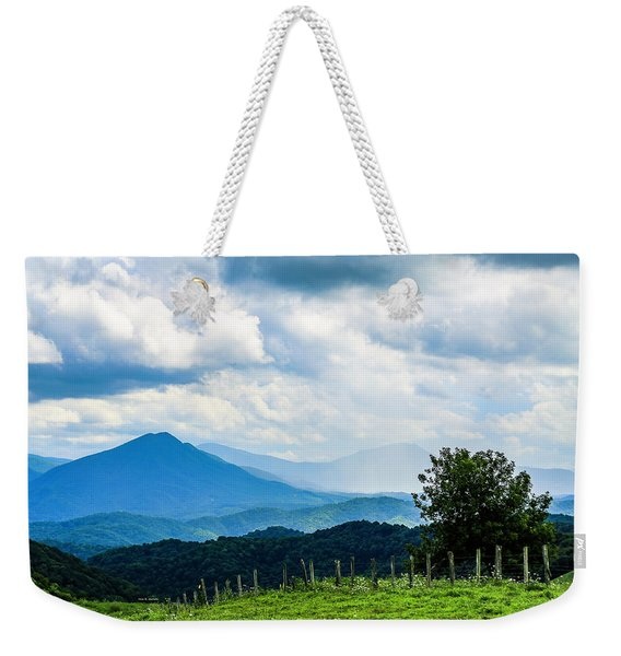 Mountain Rain Weekender Tote Bag