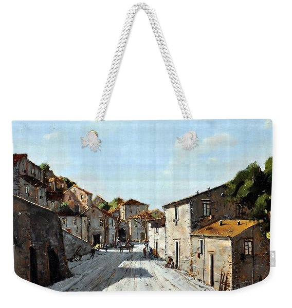 Weekender Tote Bag featuring the painting Mountain Village Main Street by Rosario Piazza