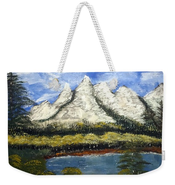 Mountains And Evergreens Weekender Tote Bag