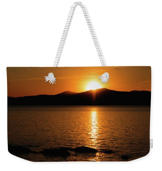 Mountains And River At Sunset Weekender Tote Bag