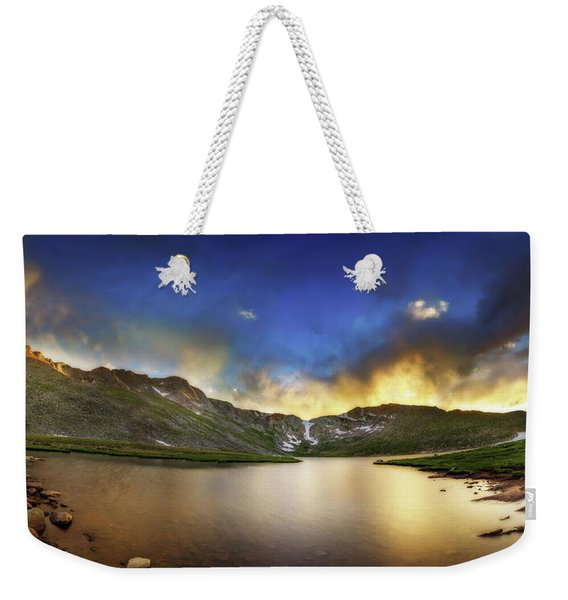 Mt. Evens Summit Lake Sunset Weekender Tote Bag