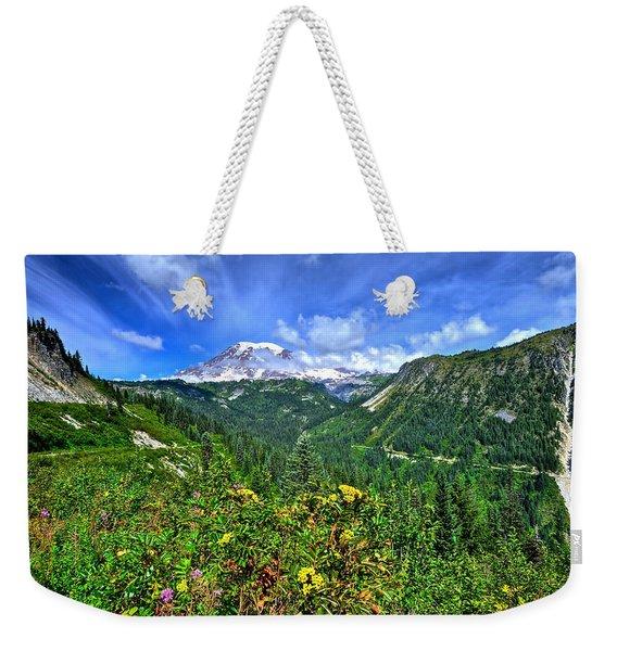Mt. Rainier Through The Clouds  Weekender Tote Bag