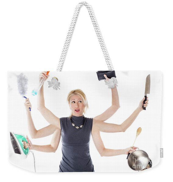 Weekender Tote Bag featuring the digital art Multitasking Housewife by Benny Marty