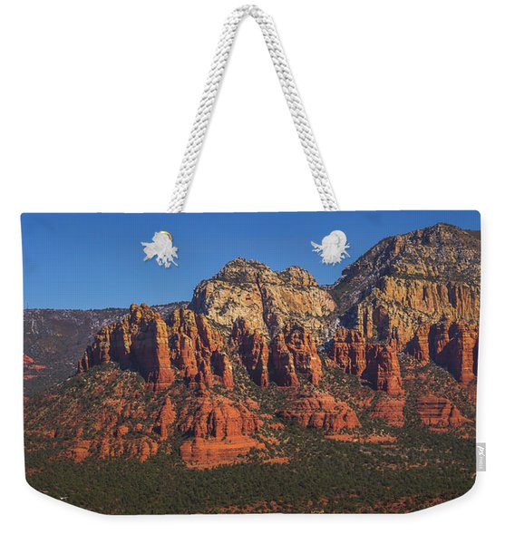 Weekender Tote Bag featuring the photograph Munds Mountain Panorama by Andy Konieczny