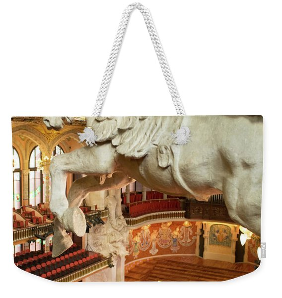 Weekender Tote Bag featuring the photograph Palau De La Musica Catalana, Barcelona by Frank DiMarco