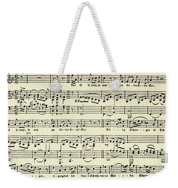 Music Score For Erlaf See By Schubert Weekender Tote Bag