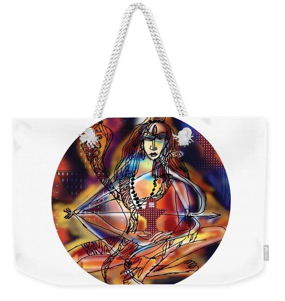 Weekender Tote Bag featuring the painting Music Shiva by Guruji Aruneshvar Paris Art Curator Katrin Suter