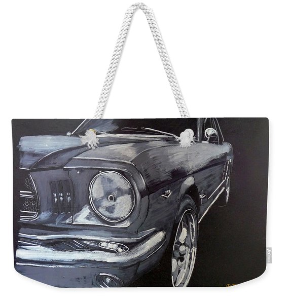 Weekender Tote Bag featuring the painting Mustang Front by Richard Le Page