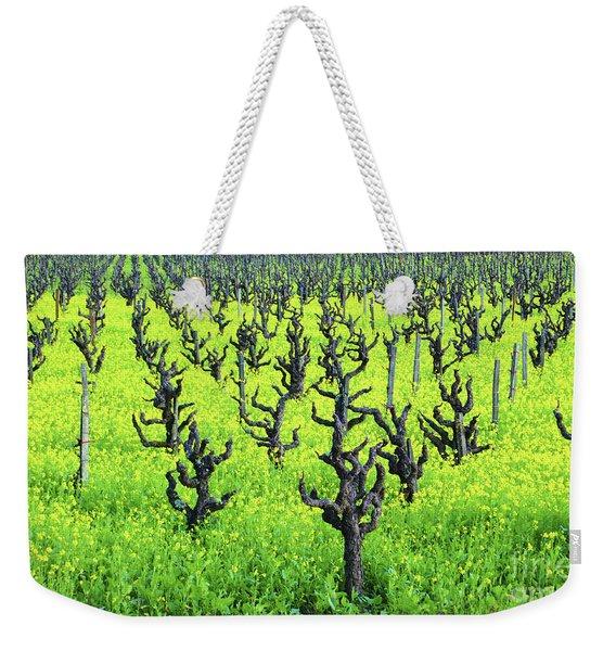 Mustard Flowers In The Vineyards Weekender Tote Bag
