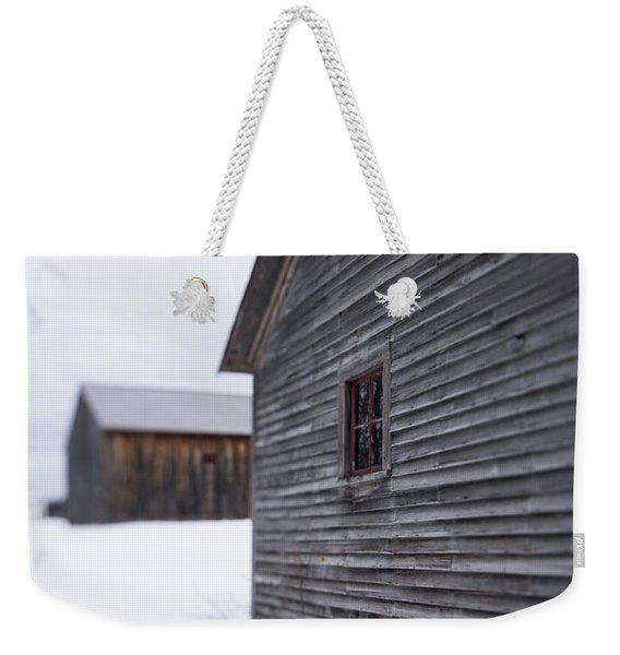 Musterfield Farm North Sutton Nh Old Buildings In The Snow Weekender Tote Bag