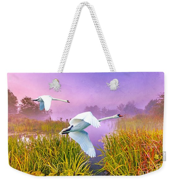 Mute Swans Over Marshes Weekender Tote Bag