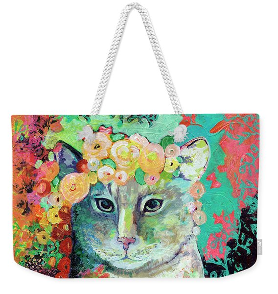 My Cat Naps In A Bed Of Roses Weekender Tote Bag