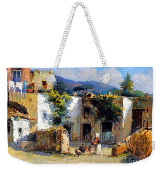 Weekender Tote Bag featuring the painting My Uncle Farm House by Rosario Piazza