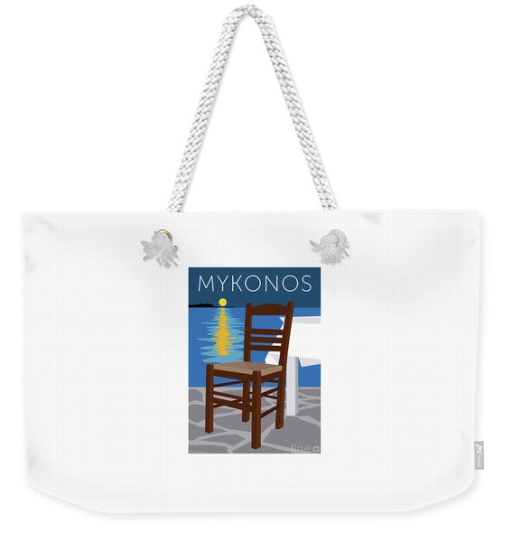 Weekender Tote Bag featuring the digital art Mykonos Empty Chair - Blue by Sam Brennan