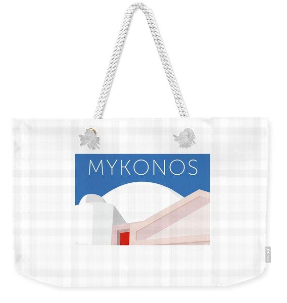 Weekender Tote Bag featuring the digital art Mykonos Walls - Blue by Sam Brennan