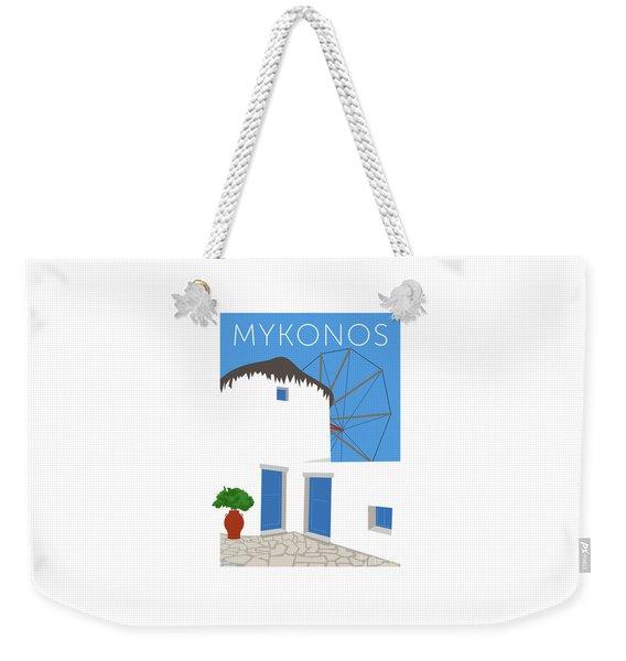 Weekender Tote Bag featuring the digital art Mykonos Windmill - Blue by Sam Brennan