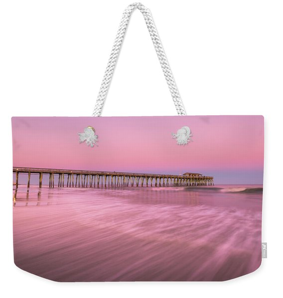 Weekender Tote Bag featuring the photograph Myrtle Beach Fishing Pier At Sunset Panorama by Ranjay Mitra