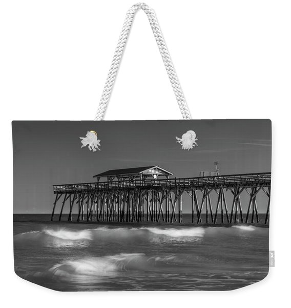 Myrtle Beach Pier Panorama In Black And White Weekender Tote Bag