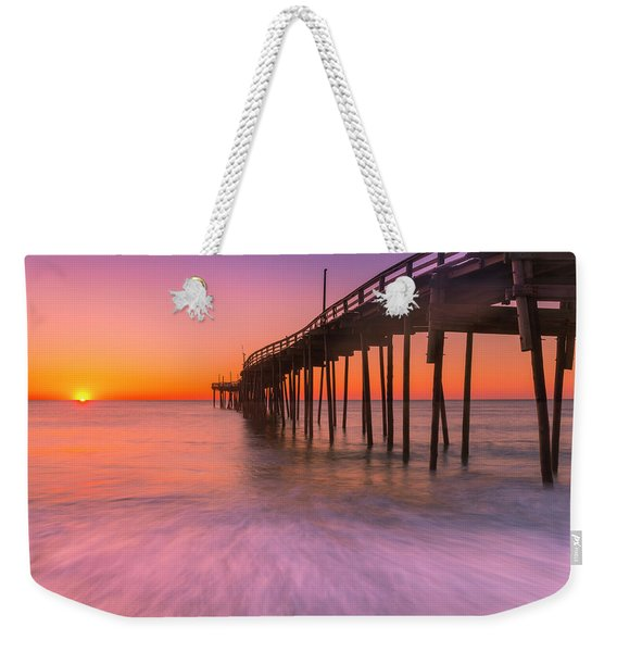 Weekender Tote Bag featuring the photograph Nags Head Avon Fishing Pier At Sunrise by Ranjay Mitra