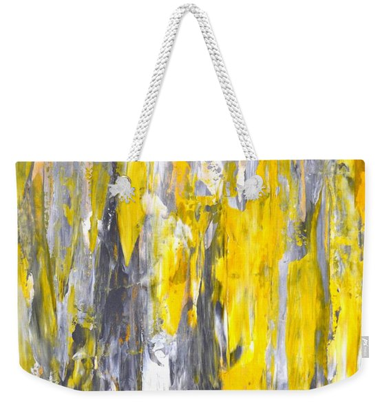Nailed It - Grey And Yellow Abstract Art Painting Weekender Tote Bag