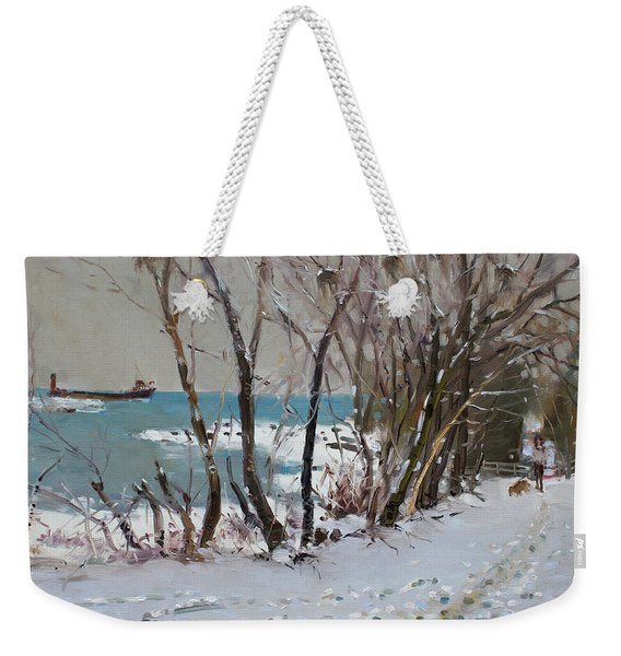 Naked Trees By The Lake Shore Weekender Tote Bag